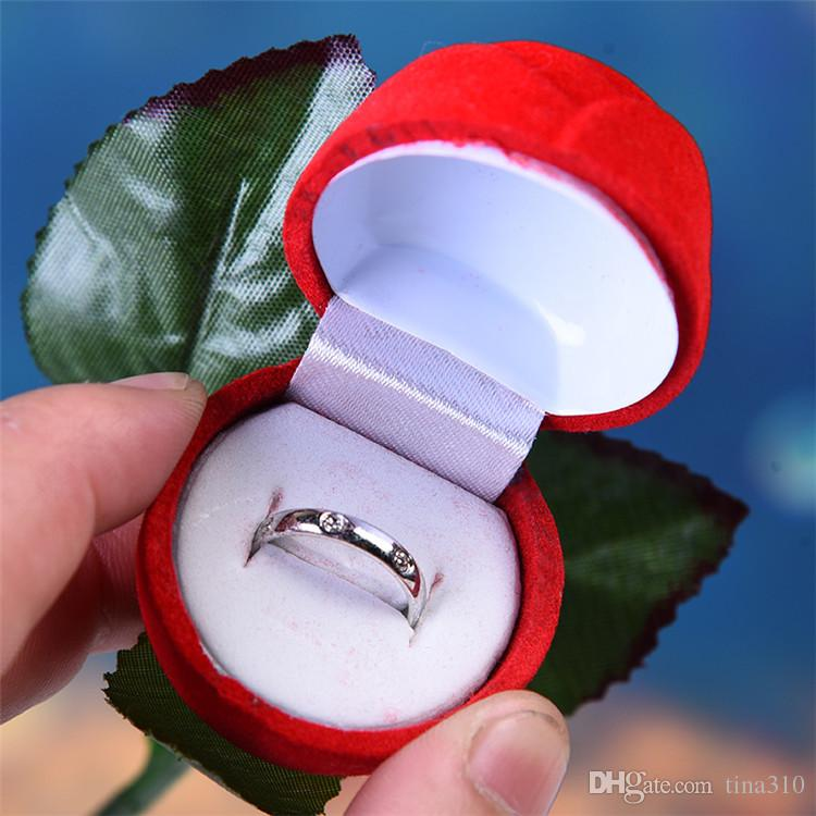 Charm Red Rose Flower Ring Box Party Wedding Earring Pendant Jewelry Gift Case Display Pack Boxes Christmas Toy IB696