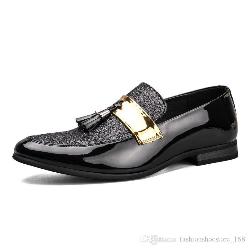Handmade Mens Formal Dress Wedding Shoes Men Dress Shoes Leather Loafers  Pointed Toe Tassel Formal Patent Leather Oxford Shoes For Men 2018 Dress  Shoes For ... 7e8b3f6d5888