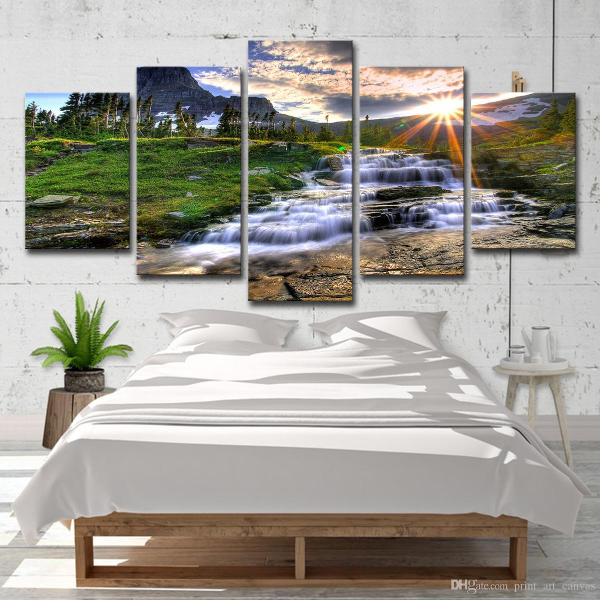 Imágenes de lienzo Arte de la pared Sala de estar Decoración 5 unidades Mountain Waterfall Stream Pintura HD Prints Green Landscape Poster