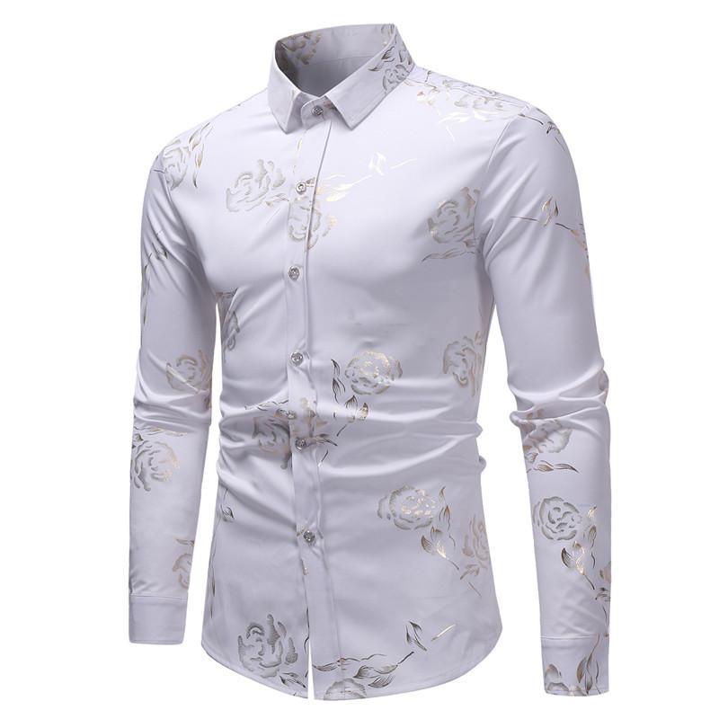 Acheter Rose Fleur Bronzage Blanc Chemise Hommes 2018 De Luxe Or Feuille  Imprimé À Manches Longues Hommes Casual Dress Chemises Pour Homme Camisa  Masculina ... 20f25ac2971