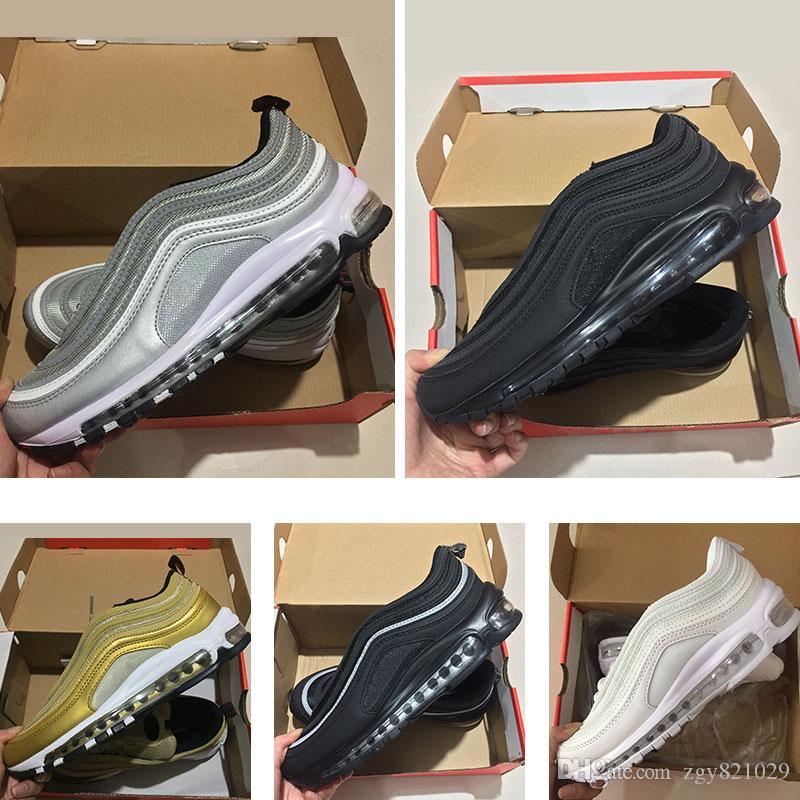 lowest price cfb35 2188b Compre 2018 Zapatillas 97s OG Gold Silver Bullet Triple Blanco Negro Para Mujer  Zapatillas Deportivas Sneakers Talla 36 46 A  86.3 Del Zgy821029   DHgate.