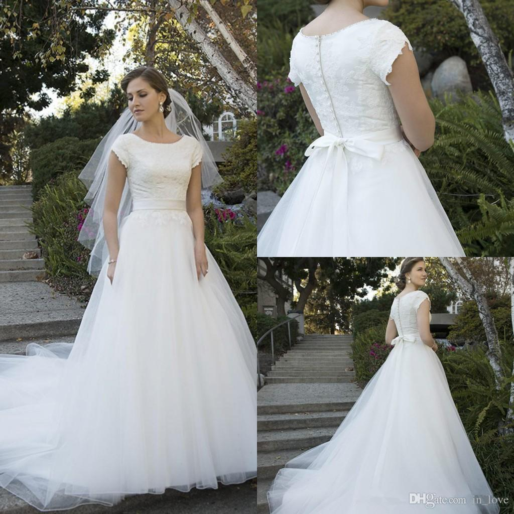 Discount New Modest Wedding Dresses Short Sleeve Jewel