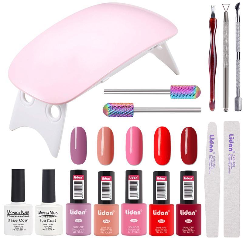 Monika Gel Nail Polish Kit With UV LED Light Home Gel Nail Polish ...