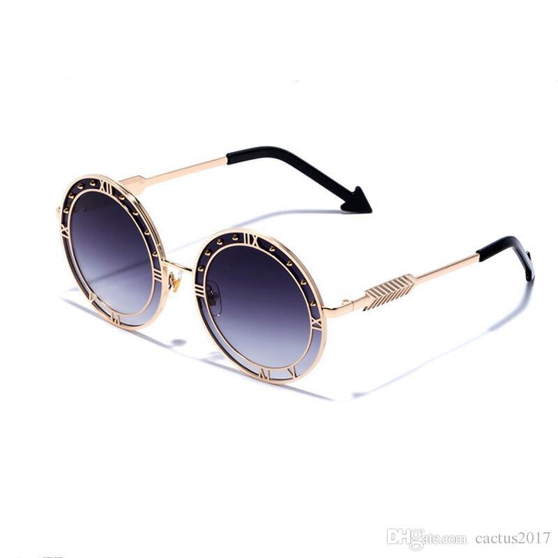 f1b339b540 Compre 2018 Nuevo Diseñador De La Marca De Lujo Gafas De Sol Redondas  Mujeres Hombres Retro Flecha Gafas De Sol Mujer Adumbral Oculos De Sol A  $8.33 Del ...