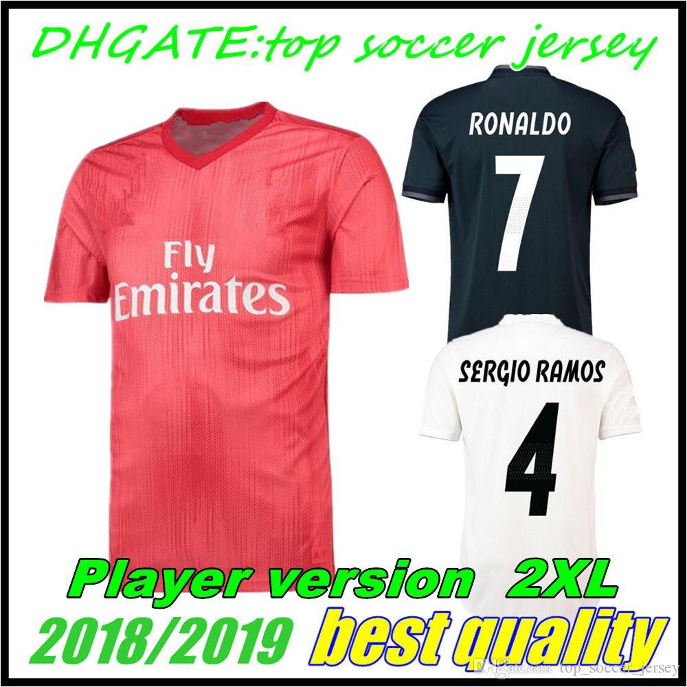 b84ce2567 2019 2018 2019 Player Version Real Madrid Soccer Jerseys 18 19 Uniform  RONALDO Home Away Third BALE RAMOS ISCO MARCELO MODRIC Football Shirts Red  From ...