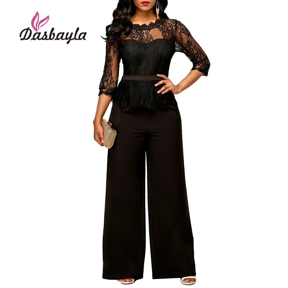 e4ffdfbd99 Dasbayla Women Sexy Wide Leg Jumpsuits 2018 Spring Lace Top Loose Rompers  Fashion Female Vestidos Solid Jumpsuits Leg Jumpsuit Wide Leg Jumpsuit  Fashion ...