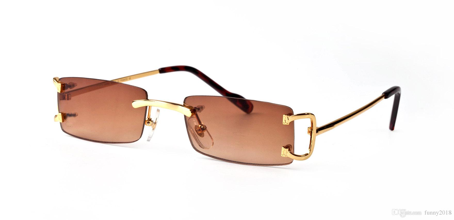 Free ship rimless Luxury brand buffalo sunglasses retro vintage men brand designer shiny gold frame leopard logo women top quality with box
