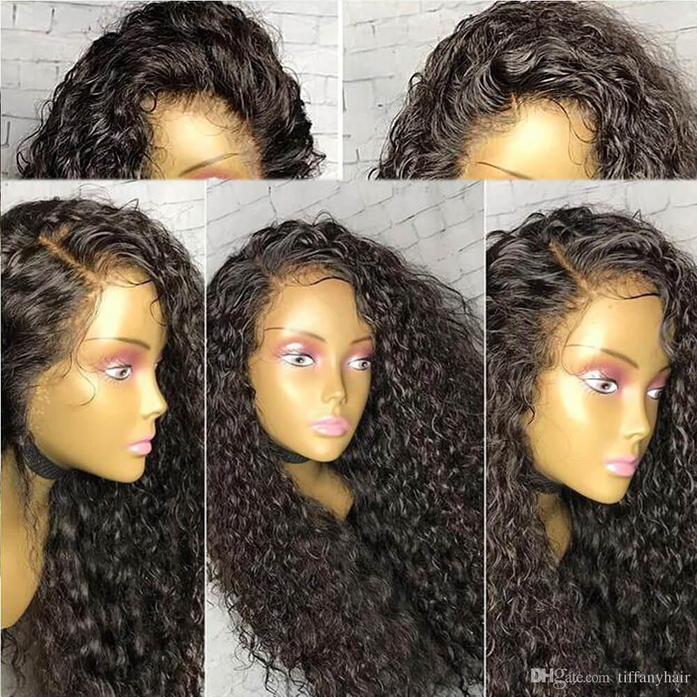 Tam dantel İnsan saç peruk İnsan saç dantel ön peruk ucuz 13 * 4 Su Derin Kıvırcık Bebek Saç Bleach Knot ile İşlenmemiş tiffanyhair