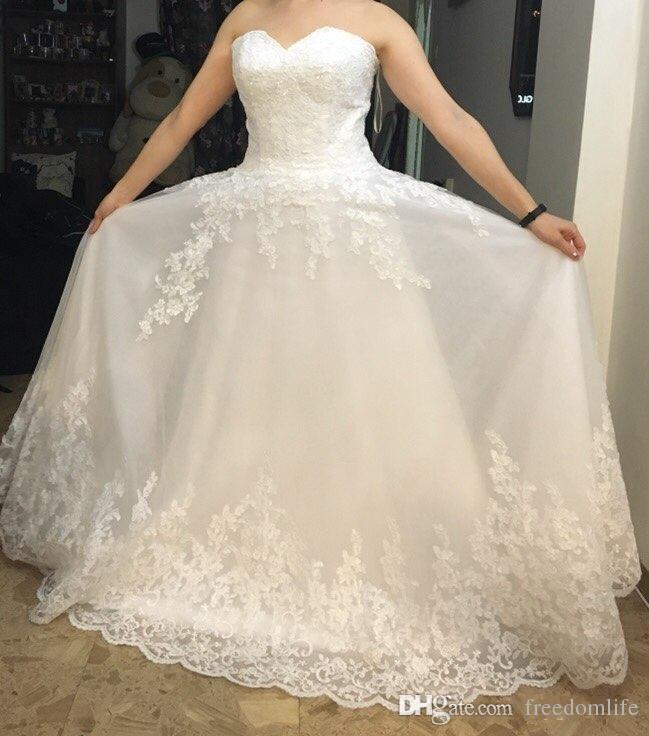 Vintage Ivory Wedding Dresses from China Sweetheart Lace A Line Plus Size Wedding Dress Lace Applique Court Train 2016 Bridal Gowns