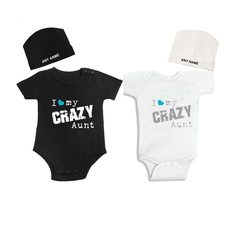 37168ad498f65 Culbutomind Twin Clothes for Boys and Girls i Love My Crazy Aunt Newborn  Twin Bodysuits Summer Outfit and Custom Cap Shower Gift
