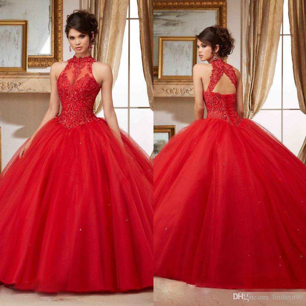 2018 Red Beaded Quinceanera Dresses Sheer High Neck Sweet