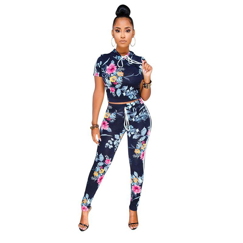 248fa03277f 2019 Womens Two Piece Sets 2018 Autumn Print Women Crop Top Pants Set  Bodycon Plus Size Women Sexy Two From Bida Josh