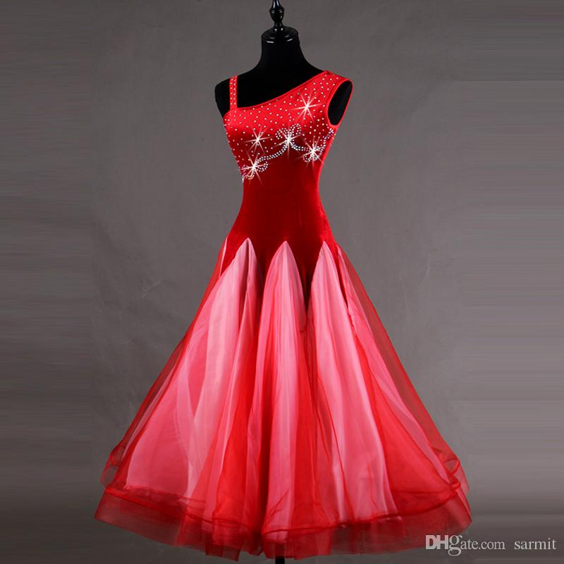 Ballroom Waltz Dresses Sale Ballroom Competition Dress Tango Dance Costumes Outfits Velvet D0178 Rhinestones Big Sheer Hem