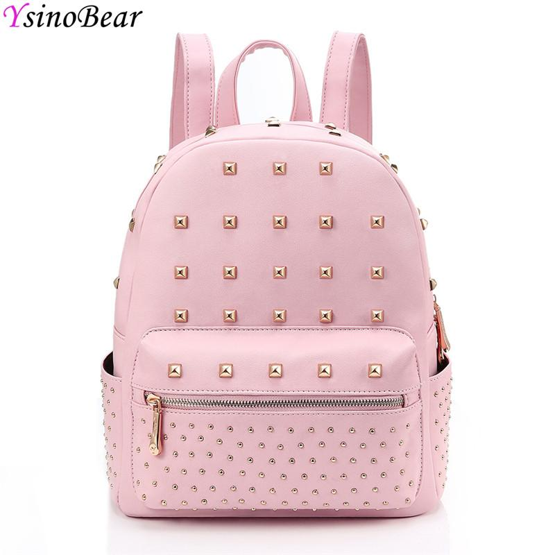 ce7393622b21 YsinoBear Pink Rivets Women Backpack Small Mini PU Leather Backpack Simple Fashion  School Bag Travel Women Back Pack For Girls Swiss Gear Backpack Osprey ...