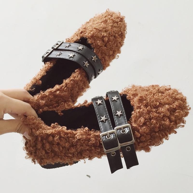 9c27612629d Moxxy Designer Winter Buckle Fur Shoes Woman Ourdoor Soft Warm Fur Slippers  Home Flat Shoes Slides Low Heels Plush Mules