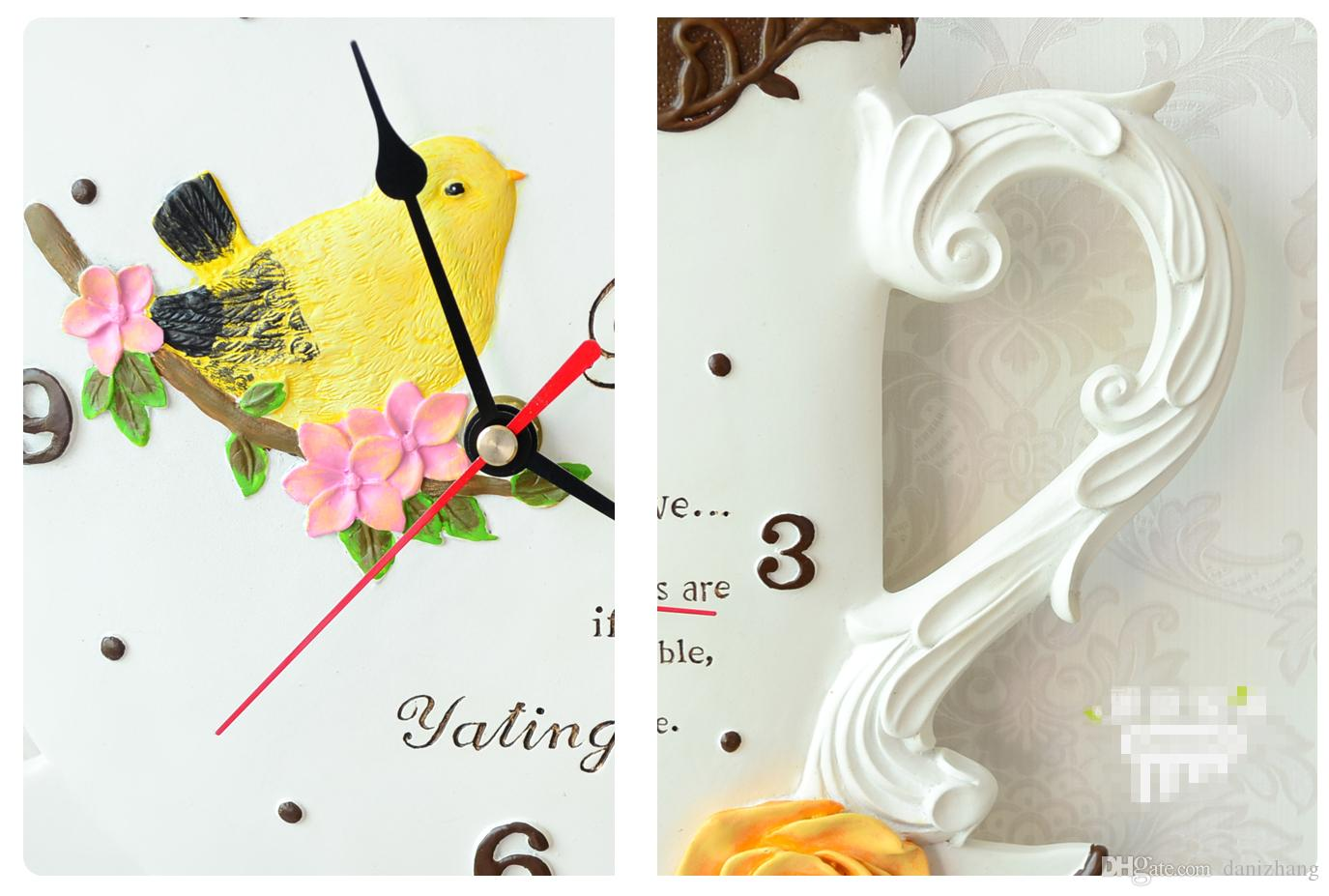 14inch Blue/Coffee European coffee cup mute wall clock Creative swing Resin material 57x35cm Aluminum alloy paint pointer