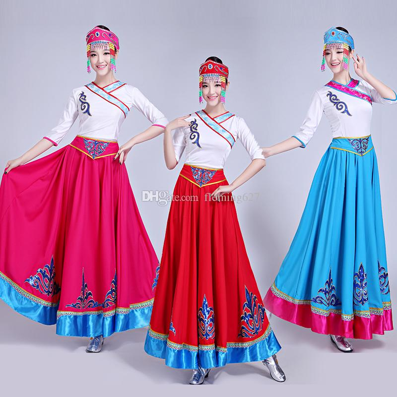 c74e8975f Chinese Folk Dance Costume stage wear Mongolian Tibetan style Performance  dress (top+Long skirt)womens festival dance clothing