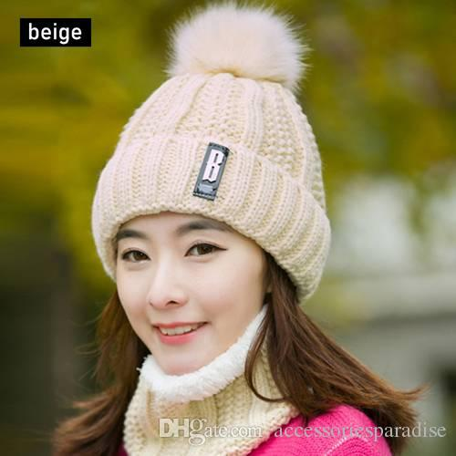 4797b8129e5 Fashion Scarf Hat Set Women Winter Warm Solid Pompoms Knitted Wool ...