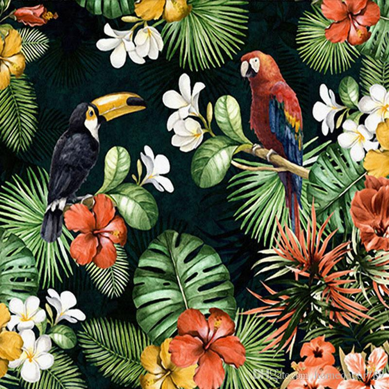Custom Mural Wallpaper Painting Pastoral Parrot Tropical Rainforest Plant Cartoon Living Room TV Backdrop Wall Papers Home Decor