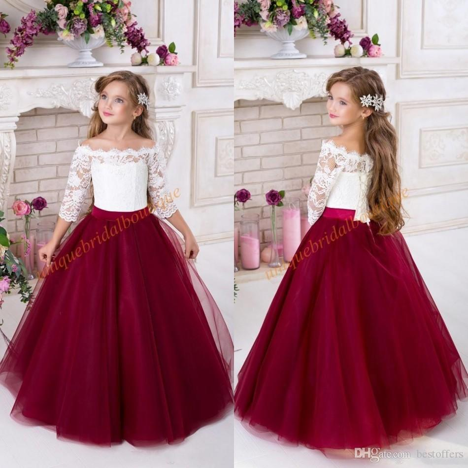 Flower Girl Dresses For Garden Weddings: 2019 Burgundy Flower Girls Dresses For Weddings 2018 Off