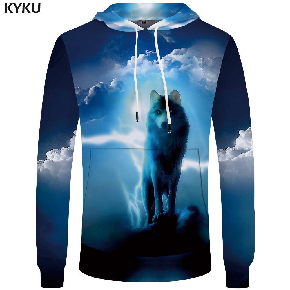 Compre Kyku Wolf Hoodies Men Lightning Ropa Para Hombre Nube De Bolsillo  Animal Hoddie Sudadera Tamaño Grande 3d Hoodies Con Capucha Hip Hop Casual  ... 64f3b5ccd4a