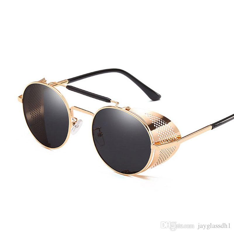 Retro Steam Punk Sunglasses Round Designer Metal Shields Sunglasses Men Women UV400 Gafas De Sol 4HlJ6g