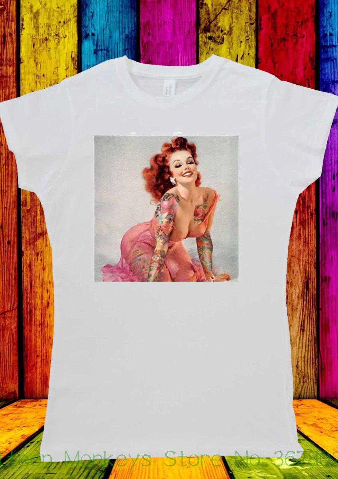 d15cbd102a2 Women's Tee Pin Up Girl Sexy Tattoo Bettie Retro T-shirt Men Women Unisex  2142 2018 Summer Funny Casual