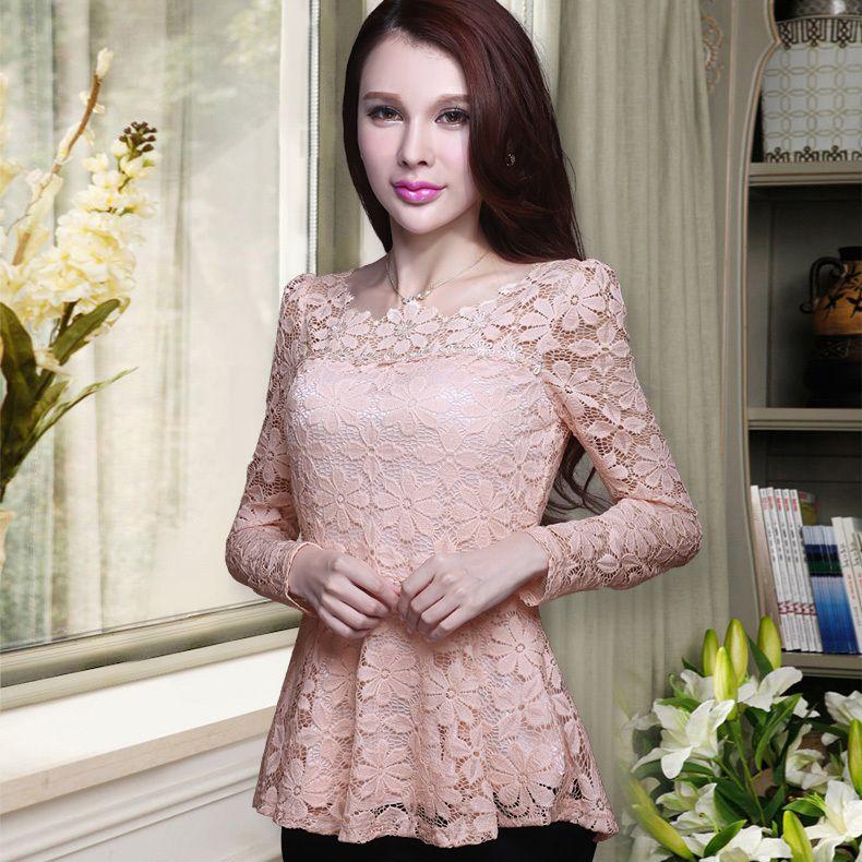 Nouveau 2017 printemps occasionnels chemisiers femmes chemise à manches longues en dentelle creuse tops Plus la taille de Ruffles femmes chemise en mousseline de soie