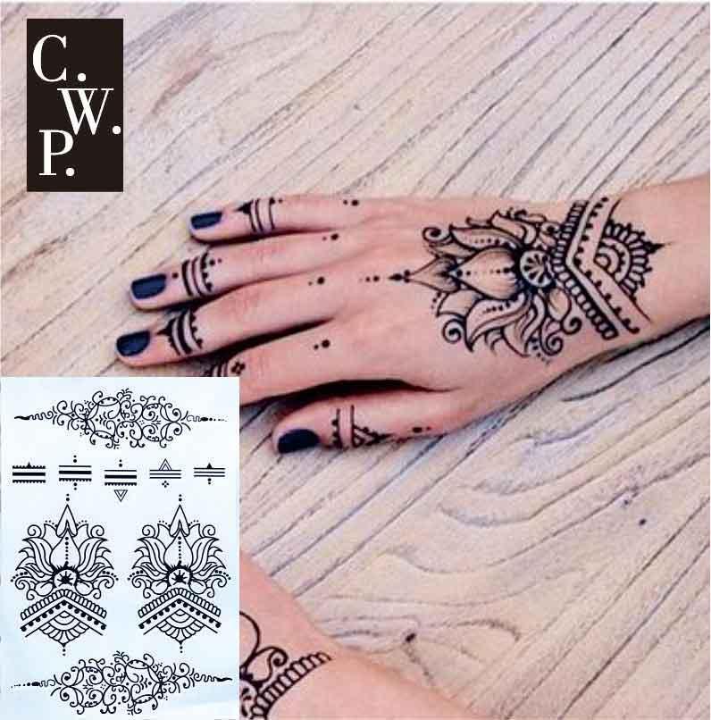 Bh1709 Lotus Wrist Black Henna Temporary Tattoo With Modern Henna