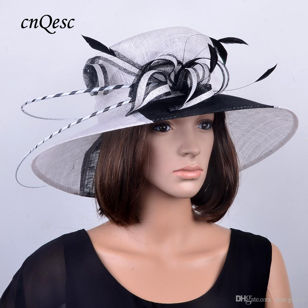 Wide Brim WHITE BLACK Wo Tone Sinamay Wedding Hat Fascinator With Ostrich  Feather For Kentucky Derby 92c21f40e98