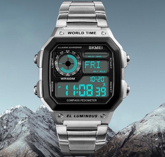 1179a6ec7c6 Skmei Retro Multifunction EL Luminous Electronic Compass Pedometer Alarm  Chrono World Time Multifunction Outdoor Sport Watches 1382 Best Watch Deals  ...