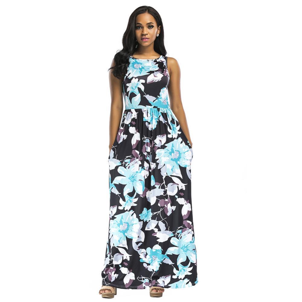 f8ef7124a82 Women Summer Long Maxi Dress Floral Print Sleeveless African Dashiki Dress  Boho Beach Dress 2019 Evening Party Sundress Vestidos Semi Formal Dresses  Black ...