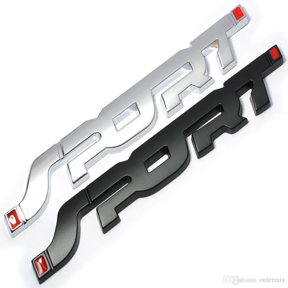 Metal 3D Chrome Silver / Black Auto Car Trunk Racing SPORT Word Letter Logo Emblem Badge Decal Sticker