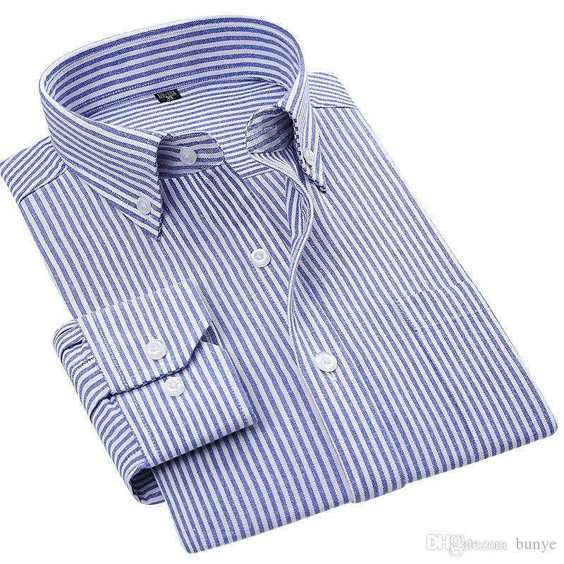 1db57b523e80 2019 Wholesale 2016 Mens Blue/White Stripe Oxford Dress Shirt Regular Fit  Long Sleeve Cotton Blend Unelastic Business Formal Button Down Shirts From  Bunye, ...