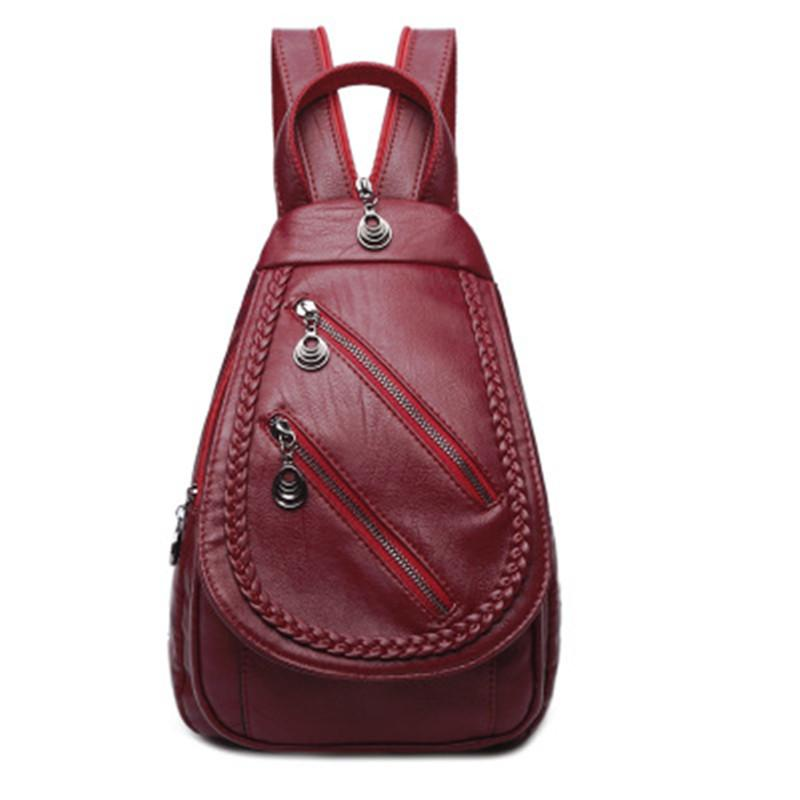 425f9010f9 CHALLEN Korean Version Of The Shoulder Bag Female 2018 New Woven Buckle  Chest Bag Leisure Travel Soft Leather Small Backpack Messenger Bags Leather  Backpack ...