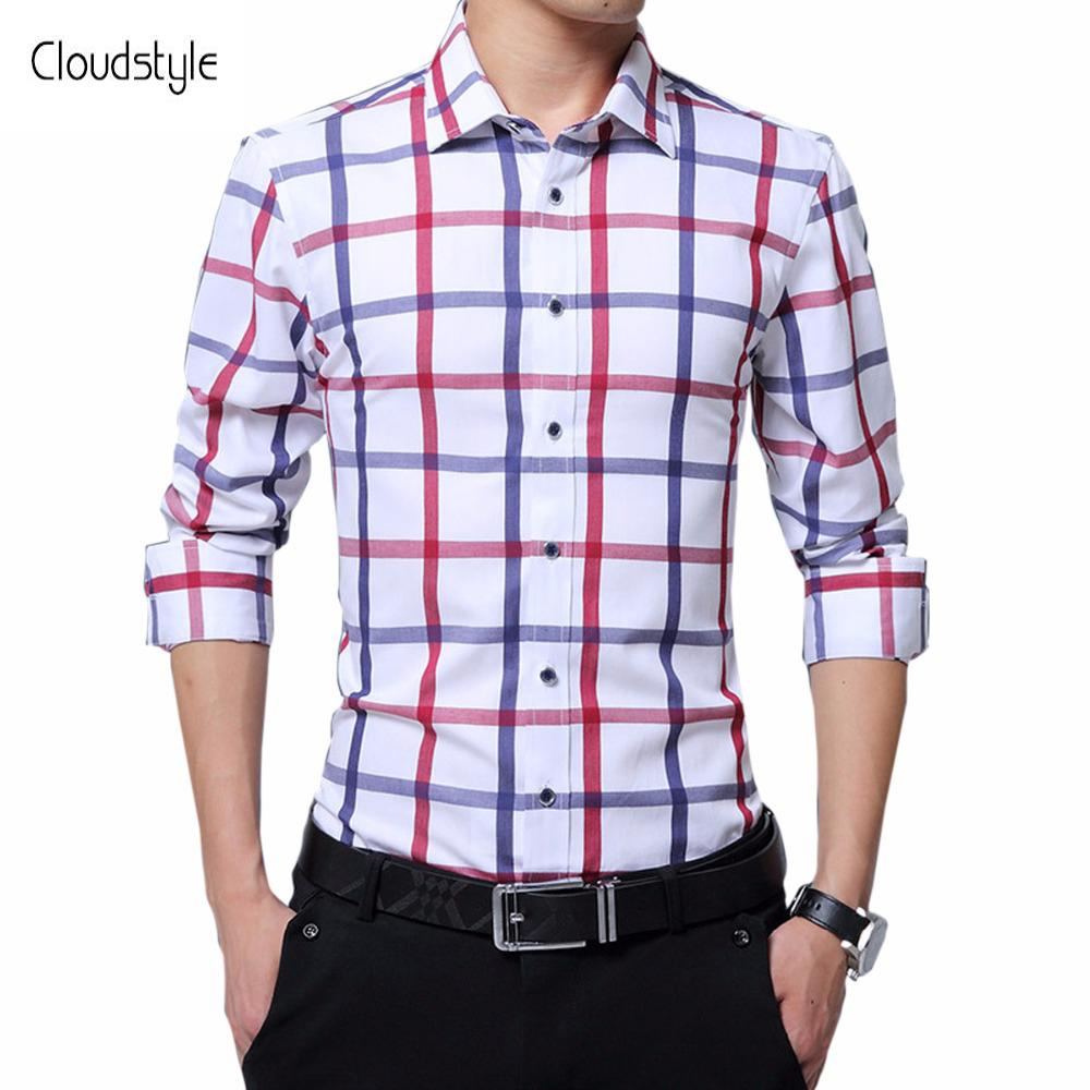 dac19d965fd 2019 Cloudstyle Plus Size 5XL Shirts Fashion Male Plaid Shirts Long Sleeve  Casual Slim Fit Dress Men Formal Party Wears Men From Vanilla03