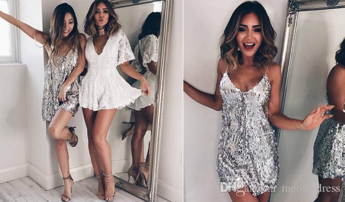 2018 vestito da promenade Sexy argento paillettes donne vestono profondo scollo av senza maniche abito corto Abiti da sera eleganti casual estate