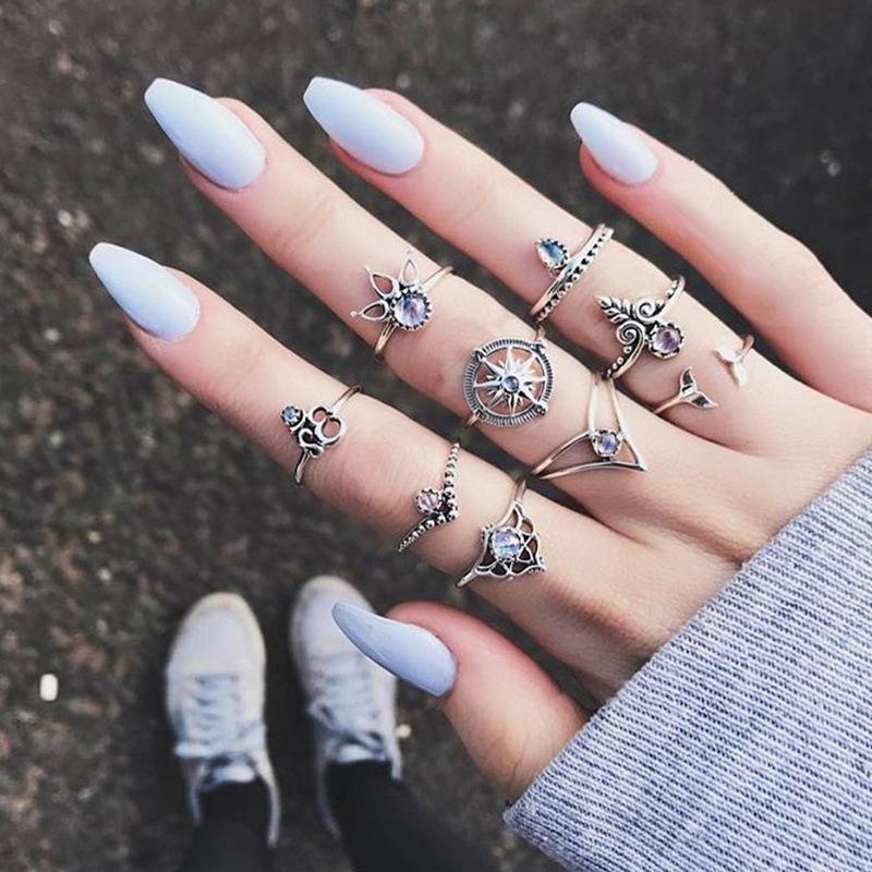 Grosshandel 9 Stuck Set Kristall Joint Ringe Frauen Modeschmuck Mix