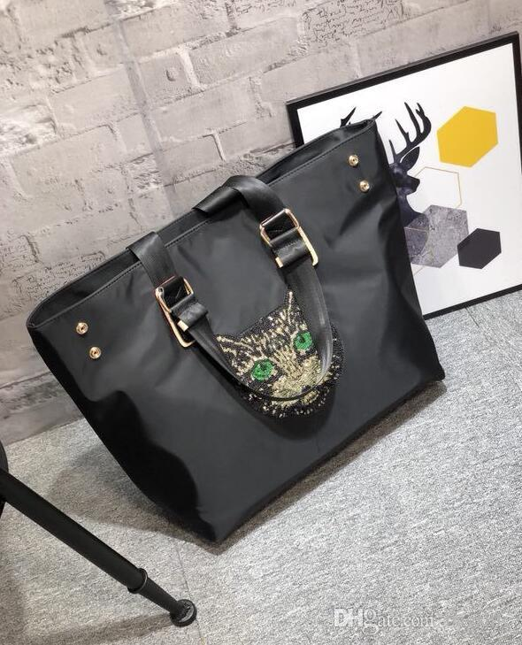 683301a3003e 2018 Autumn New Large Capacity Bag Cat Head Sequin Canvas Tote Bag Oxford  Cloth Ladies Shoulder Reusable Shopping Bags Rosetti Handbags From  Bagslife