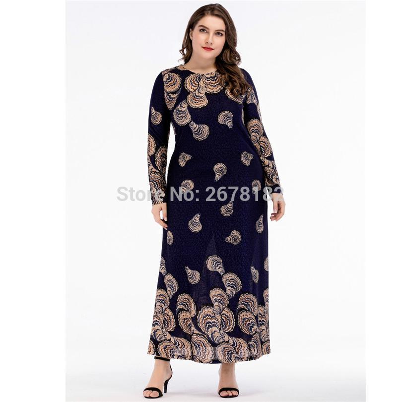 645b27e42c Compre Mulher Padrão Impresso Manga Longa Plus Size Vestido Muçulmano  Oriente Médio Vestidos Vestuário Islâmico Vestido Primavera Islâmico Maxi  De Hoeasy