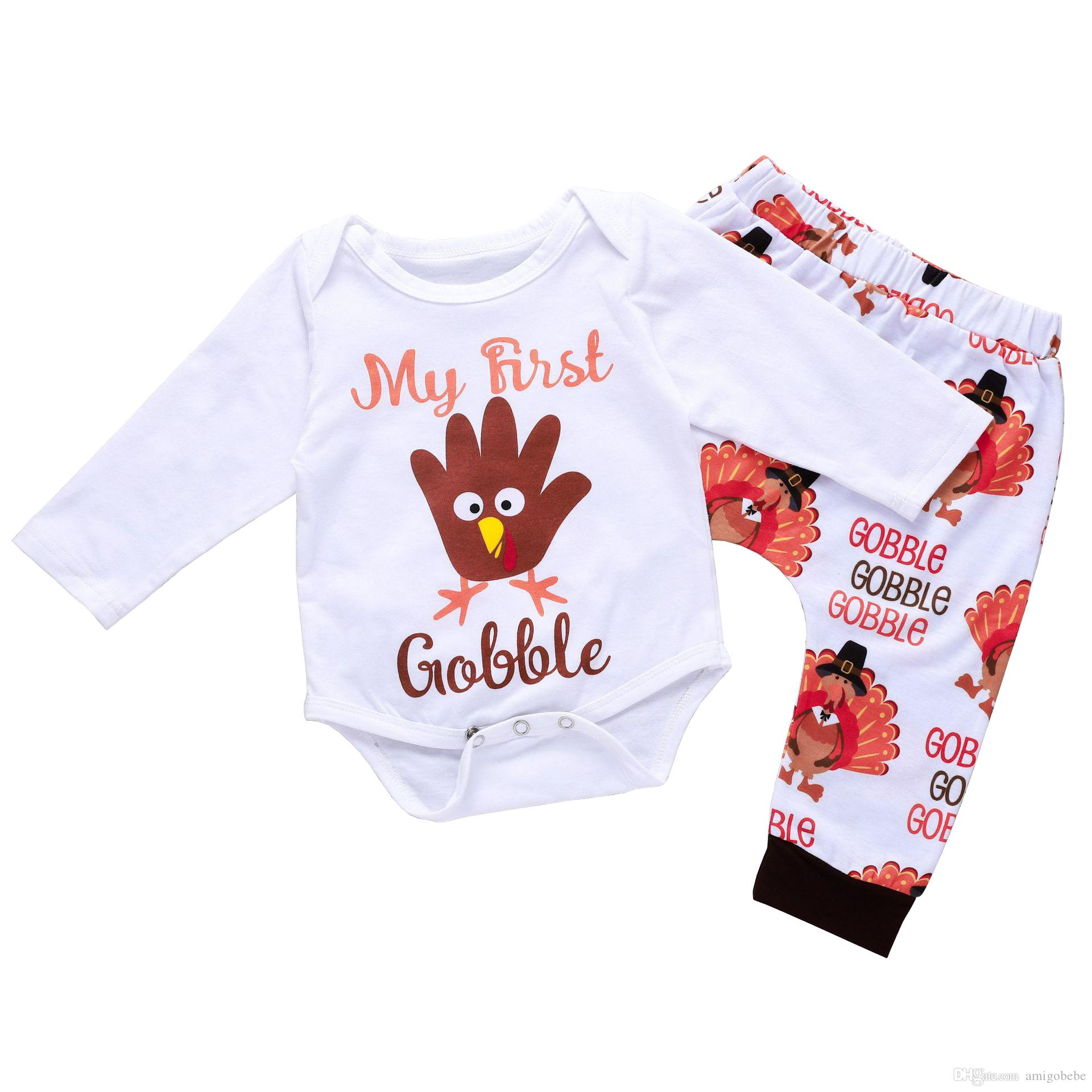 a104230b27806 2019 Floral Pig Baby Onesies Suits My First Turkey Gobble Printed Long  Sleeve Rompers Pants Thanksgiving Day Kids Girls Boys Autumn Outfits 3 18M  From ...