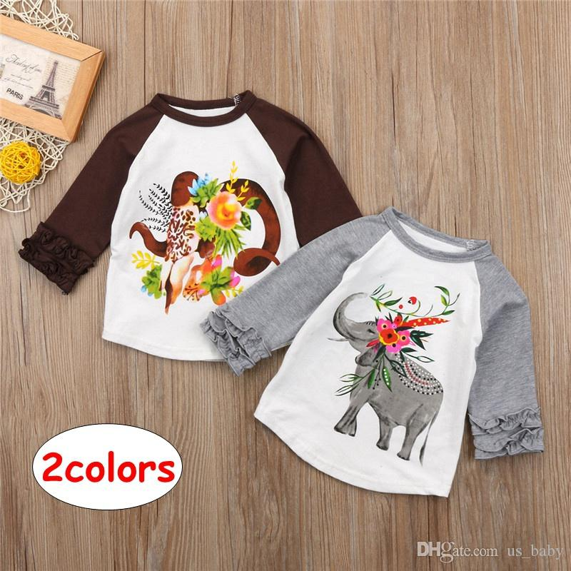 INS Baby elephant print shirts Kids Girl Boy Long Sleeve ruffle Tops Children Spring Autumn Tees for 1-5T