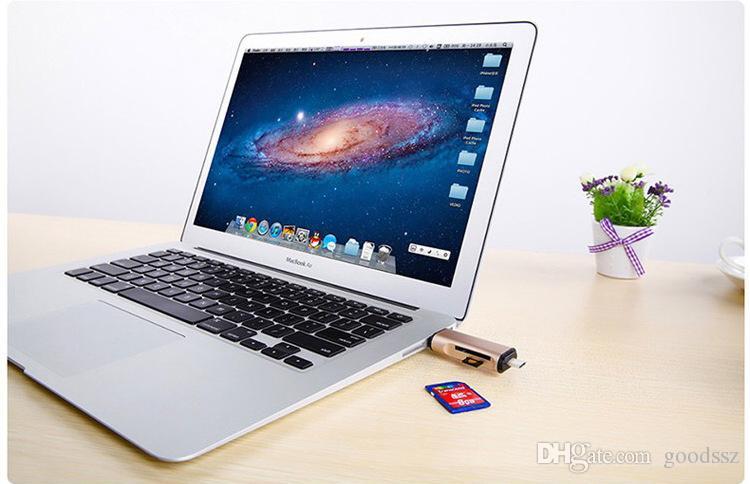 Lector de tarjetas de metal 3 en 1 USB tipo C Lector de tarjetas micro USB OTG 2 ranuras para SD Micro SDHC Lector de tarjetas SDXC TF
