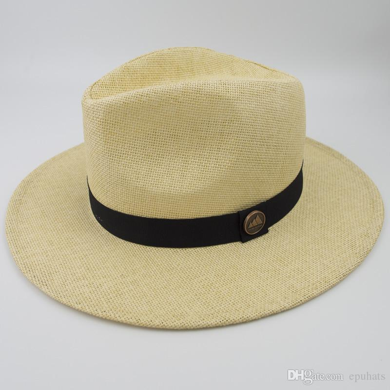 fa63831b3df 2019 New Unisex Paper Straw Panama Hat Cool Breathing Fashion Fedora Hats  For Summer Beach Holiday Classic And Vintage TOP Style Cap EPU MH1816 From  Epuhats ...