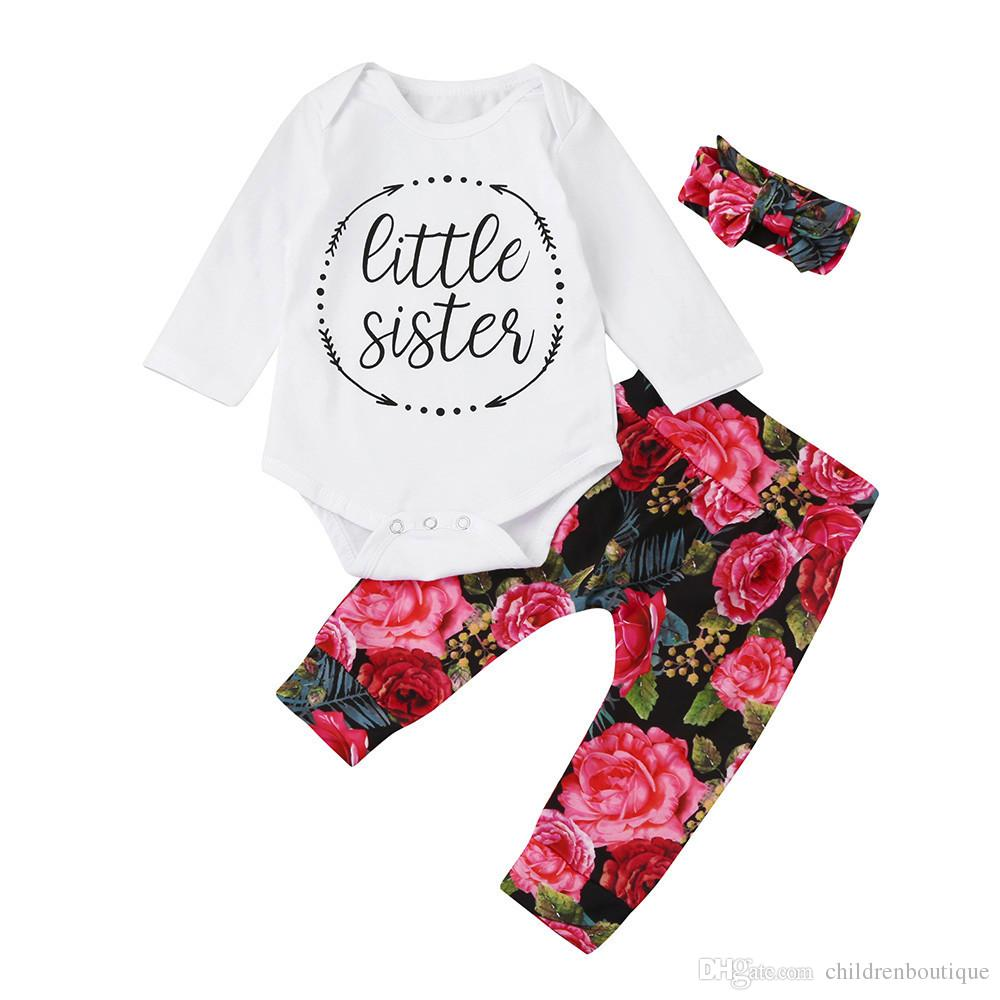 e0d902b6b Newborn Clothes Baby Girls Clothing Set Casual Little Sister Bodysuit  Tops+Floral Pants+Bowknot Headband 3Pcs Infant Outfits