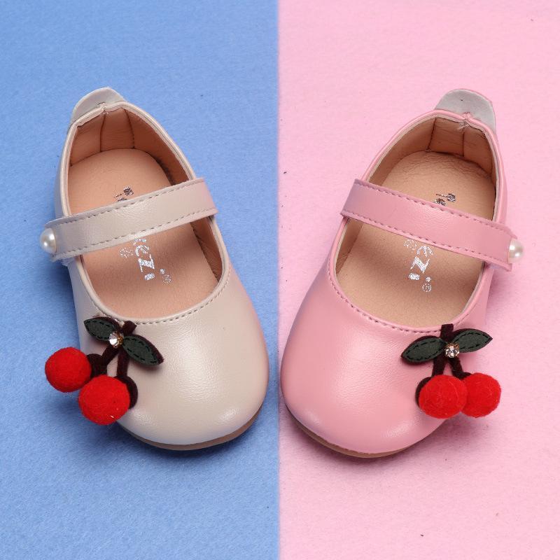 on sale f6012 823a8 Frühling Herbst Kinder Schuhe Mädchen Prinzessin Schuhe für Baby Mädchen  Wohnungen Kirsche Kleinkinder Schuh Bead Weiß Kinder Leder MCH074