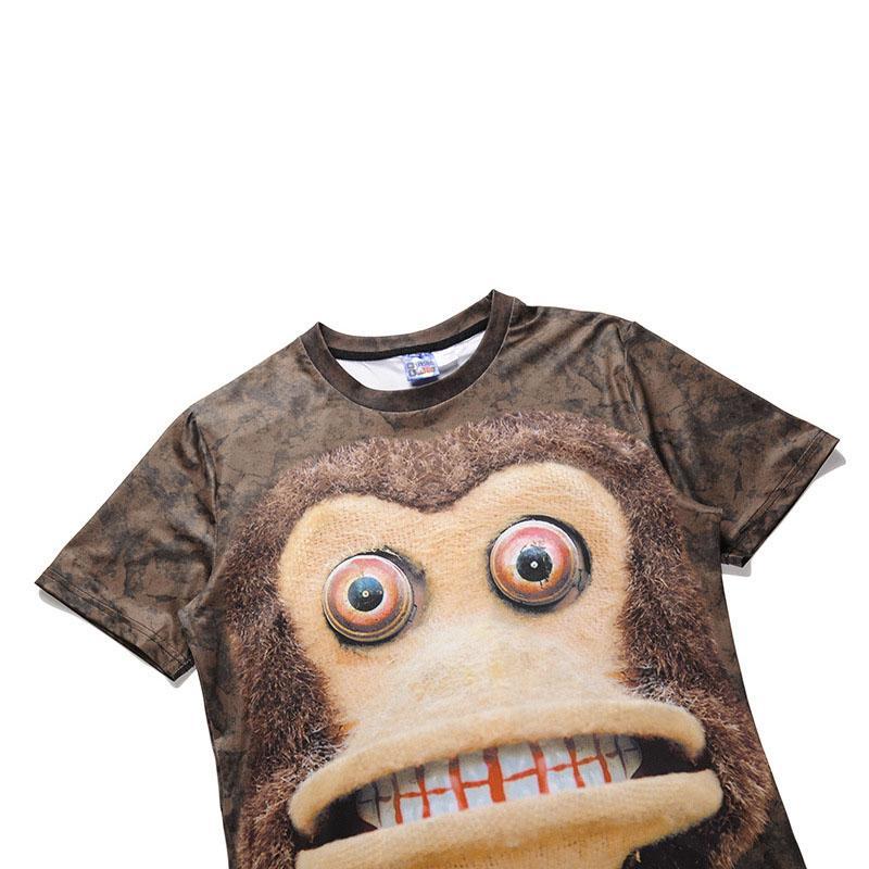 2018 Summer New sports Shirt Creativo Anime Monkey 3D impresión de manga corta camiseta hombres camiseta de gran tamaño camisa Street hipsters S-2XL