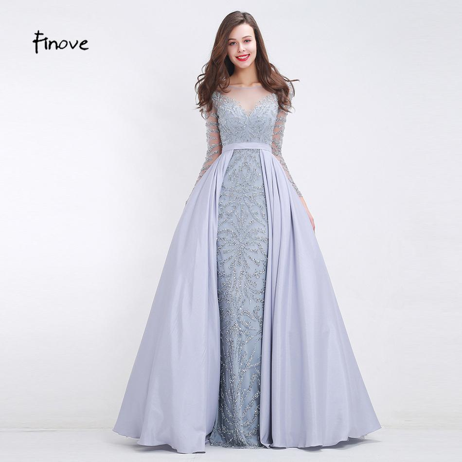 07e10fffa42e 2019 Finove Heavy Beading Prom Dresses 2018 New Styles See Through Tulle  Mermaid A Line Floor Length Long Party Gowns C18111601 From Linmei0005, ...