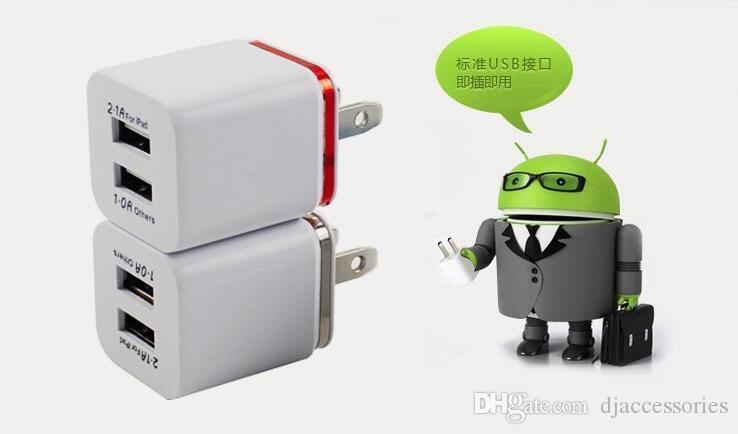 2 Adaptador de corriente USB AC de doble cargador de pared USB de metal con cargador de pared dual 2.1A para teléfonos Samsung / iPhone / HTC / Android