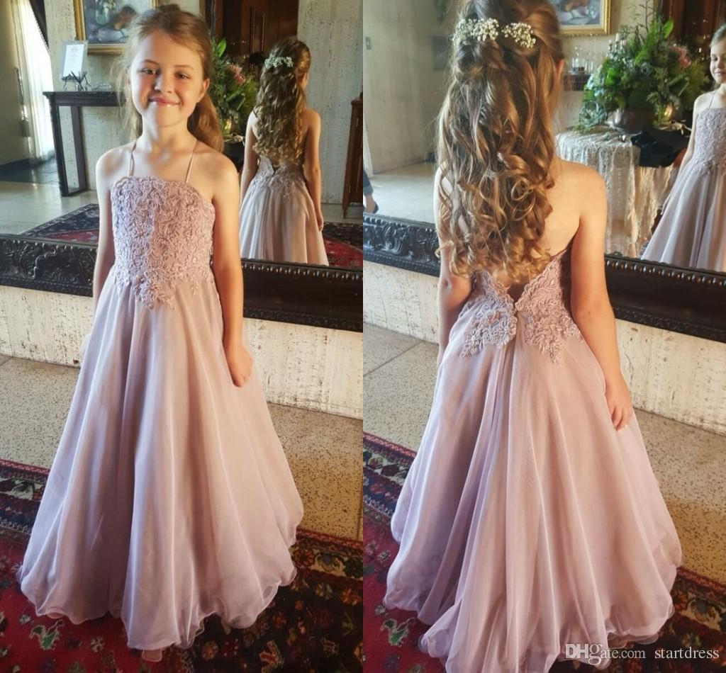 Cheap Dusty Pink Beach Country Flower Girls Dresses Halter Low Backless Organza Applique Lace Little Girls Prom Party Gowns 2018 Pageant Kid